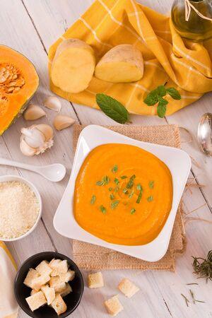 Pumpkin cream soup. Imagens