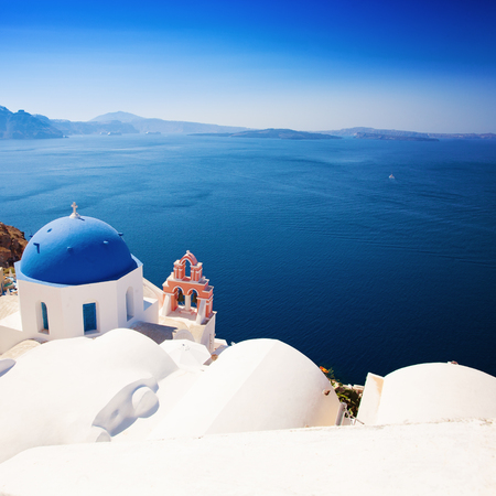 Santorini. Churches and Sea View in Greece