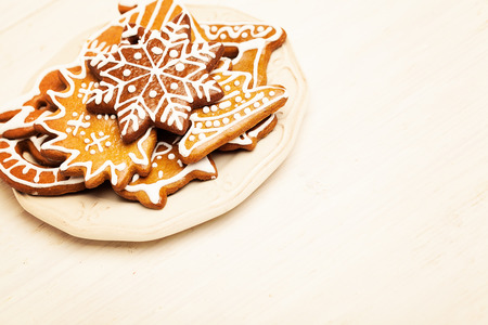 Christmas Cookie on Wooden Background with Copy Cpace