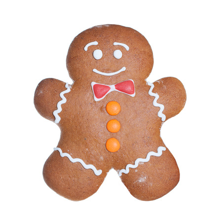 gingerbread cookie: Christmas Cookie Isolated on White Background. Gingerbread Man. Xmas Cookie Stock Photo