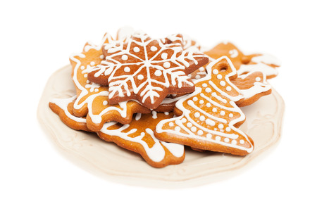 Christmas Cookie on Vintage Plate. White Background Stock Photo