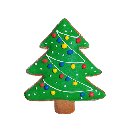 spicecake: Isolated Christmas Cookie Food. Green Gingerbread Xmas Tree on White Background