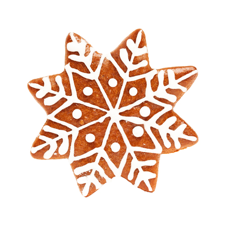 Snowflake Isolate. Christmas Cookie Isolated on White Background. Gingerbread Xmas Food