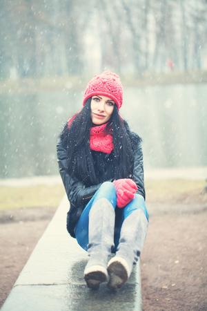 winter woman: Young Woman Winter Portrait