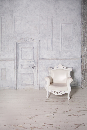 wooden boards: Vintage Interior with Armchair, Wall and Door. Retro Background Stock Photo