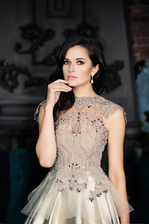 Cute Fashion Model Wearing Luxury Dress
