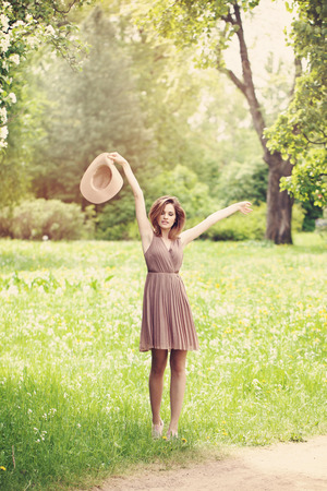 Carefree Woman Outdoors. Health andCarefree Woman Outdoors. Health and Freedom Freedom 写真素材