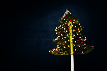 Christmas Background with Xmas Tree Lollipop