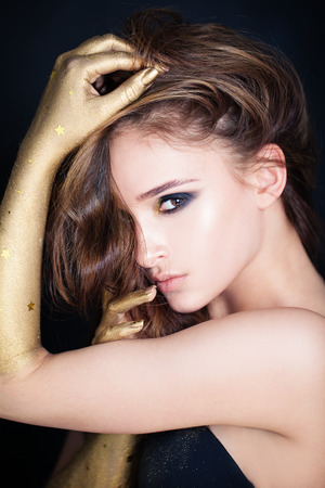 Glamorous Model Woman with Party Makeup