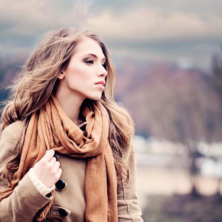 Fashion Model Woman Outdoors Stock Photo