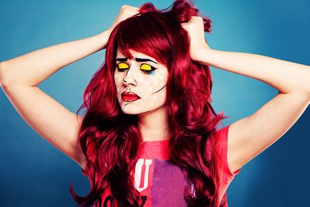Sad Woman with Comic Pop Art Makeup Stock Photo