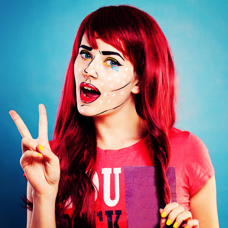 Cartoons Character Woman with Professional Comic Pop Art Make up Stock Photo