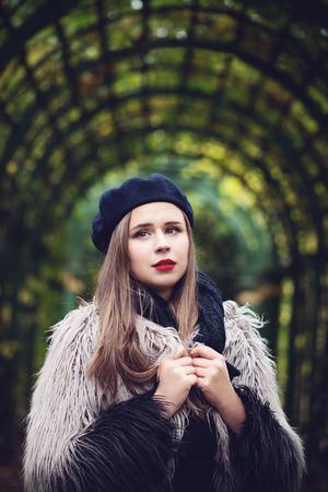 Cute Girl Fashion Model Outdoors Stock Photo