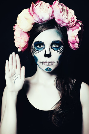 palmistry: Girl with Halloween Makeup. Sugar Skull Beautiful Woman