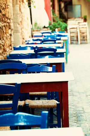 rethymno: Blue street coffee shop in Crete, impressions of Greece