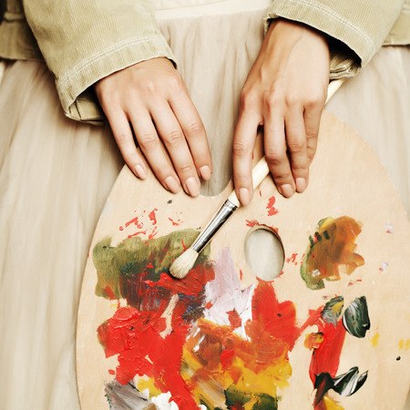 muse: My muse, art palette in female hand