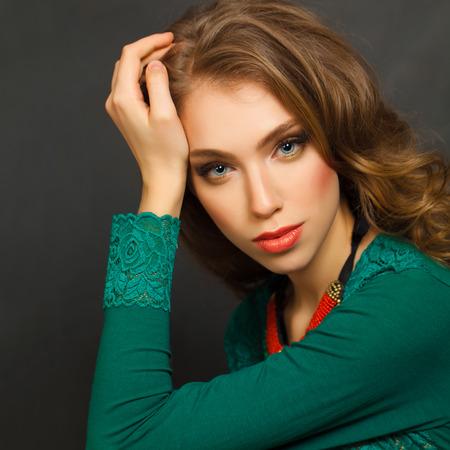 green brown: Cute Woman, fashion portrait
