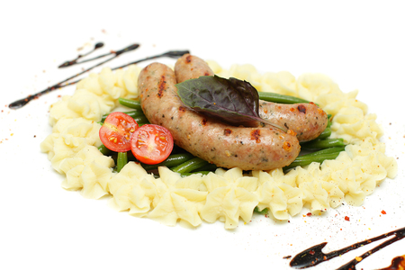 german food: Weisswurst sausage, traditional German food