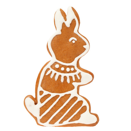 Gingerbread cookie easter rabbit on white