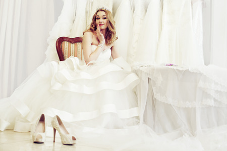 Beautiful woman in white bridal dress