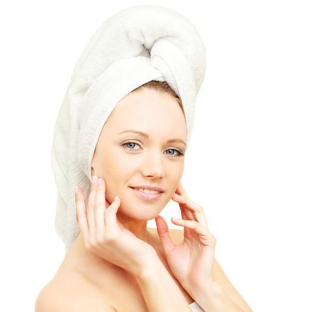 woman bath: Bodycare - spa woman with bath towel Stock Photo
