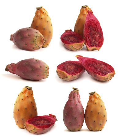 Prickly pear - opuntia fruit isolated on white Stock Photo