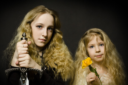 fairy tale princess: Fairy Tale - Princess and the Warrior, face close-up Stock Photo