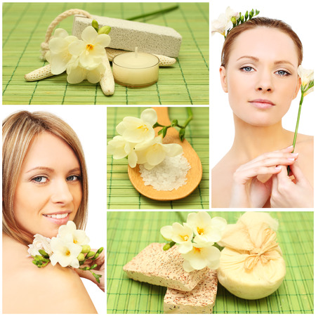 woman bath: Beautiful smiling woman, bath soap, cosmetic and flowers - spa collage