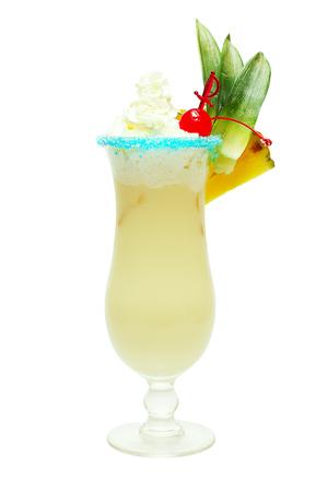 colada: Cocktail Pina colada isolated on white Stock Photo