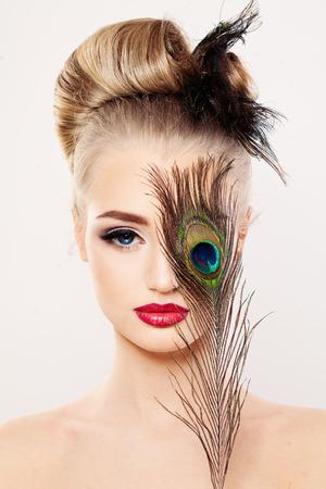Beautiful Model Woman with Makeup. Face Closeup