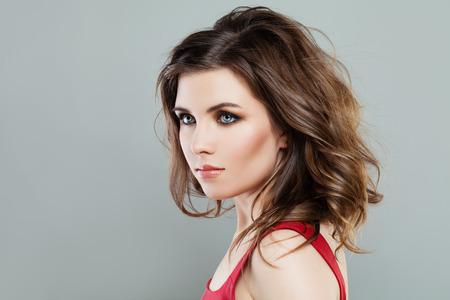 bob: Beautiful Woman with Makeup and Long Bob Hairstyle Stock Photo