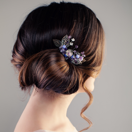 barber: Bridal or Prom Hairstyle. Beautiful Woman with Brown Hair and Hairdeco, Back View