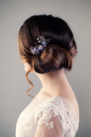 Bride Woman with Perfect Hairstyle, Female Back Standard-Bild