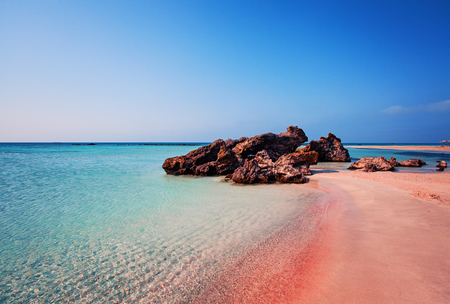 Beauty of Nature. Beautiful Elafonissi Beach with Pink Sand on Crete Island, Greece
