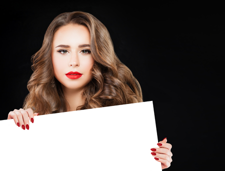 Perfect Woman with White Banner Background  Stock Photo