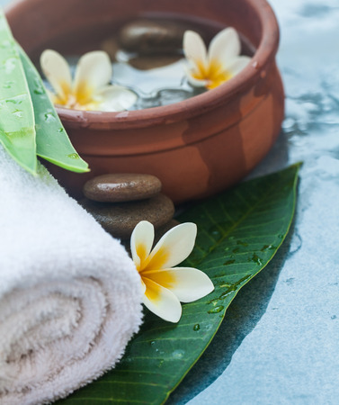 White Flowers and stones for spa relaxation