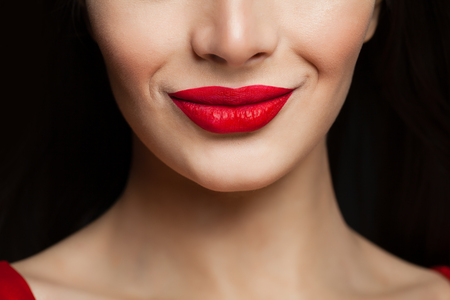 Beautiful female lips closeup. Red lips makeup Foto de archivo