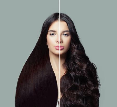 Belle femme avec une coiffure droite et bouclée. Concept de coiffure et de soins capillaires