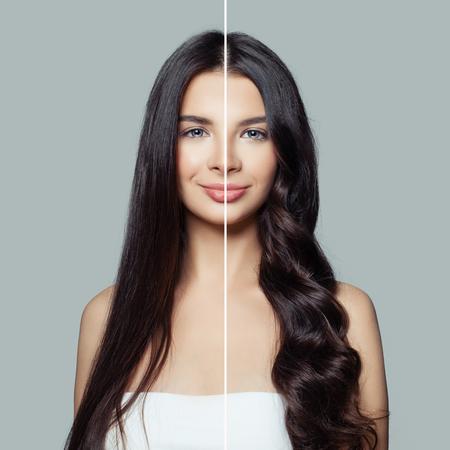 Bella mujer antes y después de usar una plancha de pelo o un rizador de pelo para unos rizos perfectos. Concepto de cuidado y peinado del cabello Foto de archivo