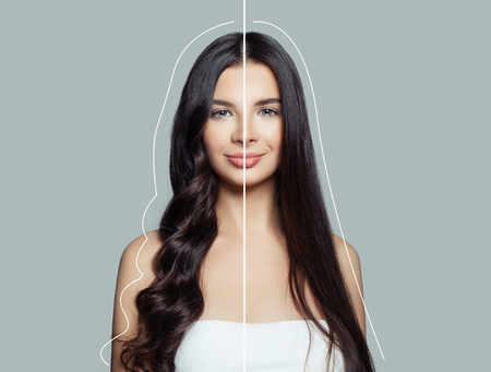 Woman brunette with curly and straight hair after using a hair straightener and hair ironing. Hair care concept