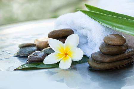 Leaves on the white towel. Spa objects and stones for massage treatment