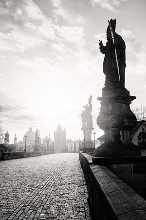 Black and white photo of Charles Bridge in Prague, Czech Republic