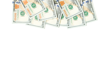 Heap of 100 us dollars border isolated on white background