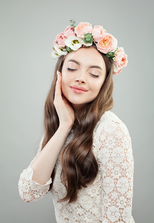Flowers Woman. Cute Girl with Clear Skin, Skincare Concept
