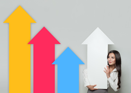 Smart Woman with Bright Empty Arrows. Business Success and Shares Up Concept