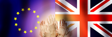 People raising hands on flag United Kingdom and Union Europe background. Brexit concept