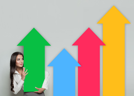 Business Woman with Colorful Rising Arrow. Business Success and Shares Up Infographic Concept