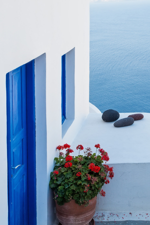 White and blue details. Santorini, Greece