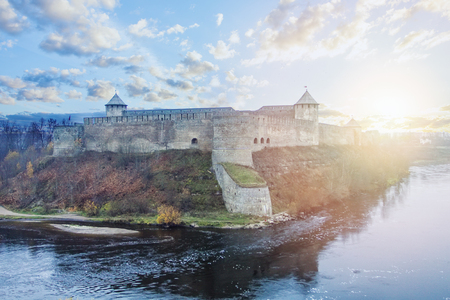 Ivangorod city and Narva river, Russia. Old fortress and castle, Russian landmark