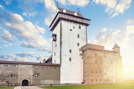 Narva, Estonia. Old fortress and castle, landmark in Baltic region